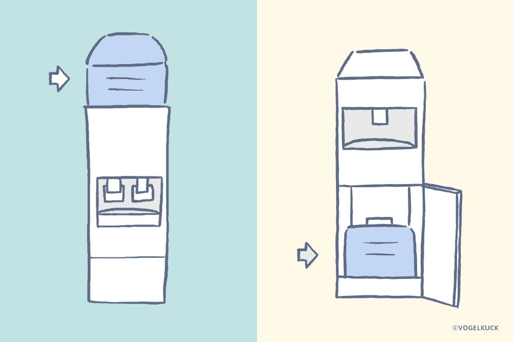 ボトル設置位置は上置き・下置きの2種類がある